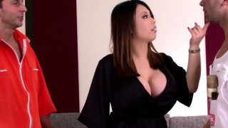 Huge titted asian housewife likes stiff double penetration