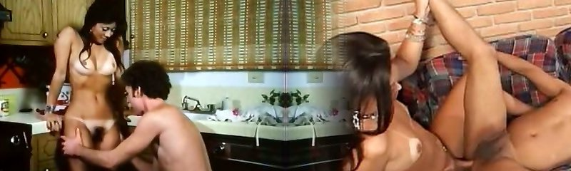 Kinky brunette gf gets her unshaved pussy licked and screwed in kitchen