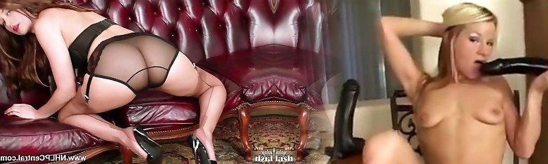 Brunette strips off antique underwear wanks in nylons mules