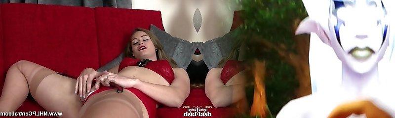 Horny babe masturbates in retro lingerie nylons high stilettos