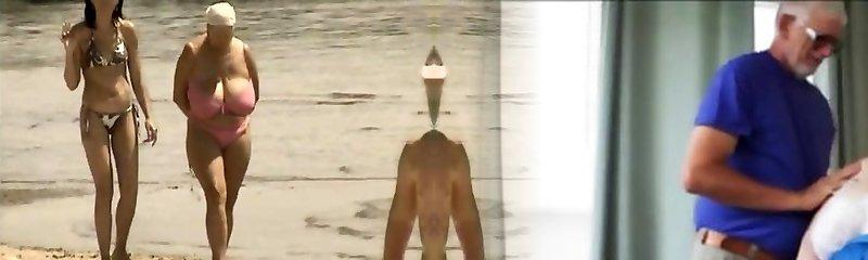 Retro gigantic tits combine on Russian beach
