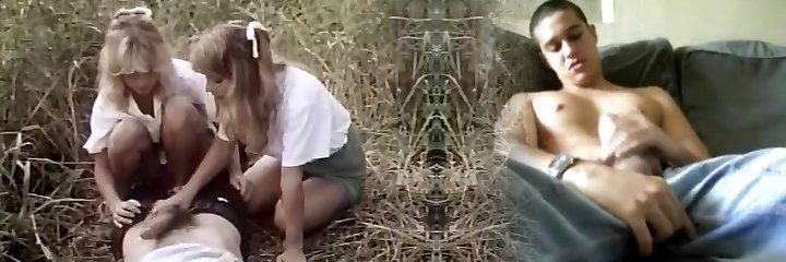 Old-school porn in the forest with two ladies