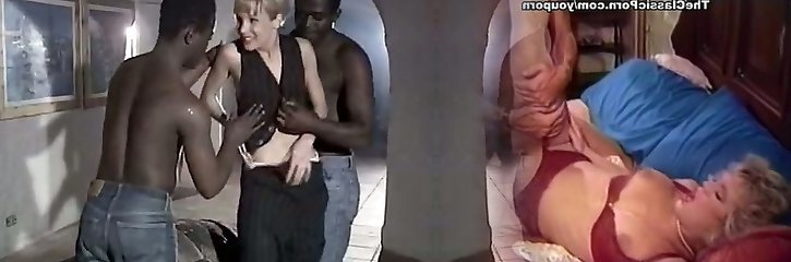 White bitch wife Rebeca gives eager blowjob to a duo of big black dudes