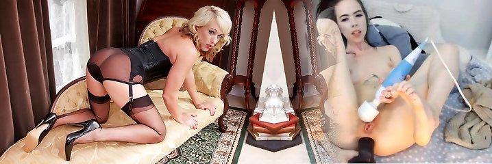 Ash-blonde in antique wear sheer nylon panties wanking wet pussy