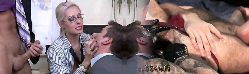 Classical Bisex Threesome at Office
