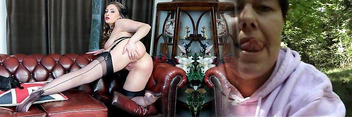 Natural large tits brunette Sophia Delane wanks in nylon heels