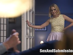 When beautiful, chaste bride to be Lyra Law leaves the house to pick up wedding invitations her visiting step cousin Chloe Cherry can't keep her slutty ass off of her fiance's Steve Holmes huge, hard dick. Lyra returns to find Chloe tied up and freshly fucked. Watch to see what happens. Two blonde creamy skinned cuties get tied up tight and fucked into submission with flogging, deep throat blow jobs, pussy fucking, hard core anal and more! Lyra and her slutty cousin just can't get enough of Steve's pounding cock!