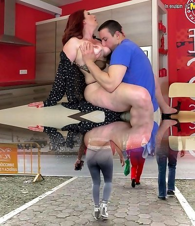 Hot redhead mother gargles pipe and gets fucked by not her sonny