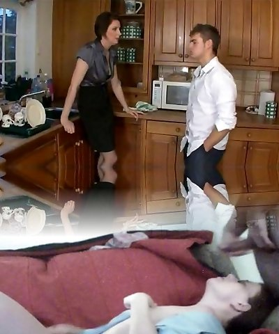 Nasty mom to mates and poke step-son