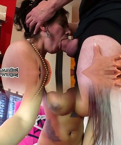Dark haired horny cougar Jezebel swallows sugary fuckpole of her guy in Sixty Nine pose