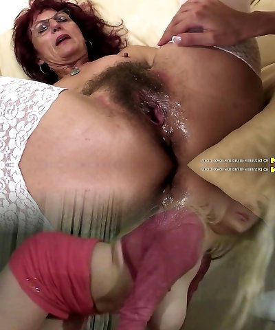 Deep fisting for sexy mature mom's hairy cootchie