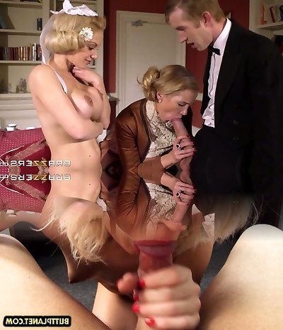 Young wealthy boy had hard three-way with two buxom mommies