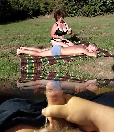 Brown-haired Bbw-Milf Outdoors by Young Guy