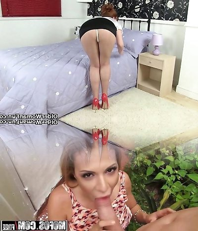British cougar Sofia rips her tights to pieces