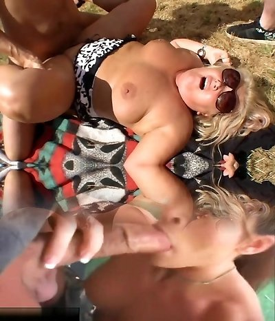 Sexy and a busty mature Cougar fucked on the beach