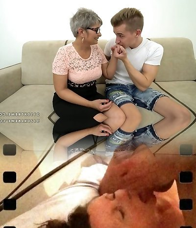 Mature grey haired round slut with big rack rides fat strong prick