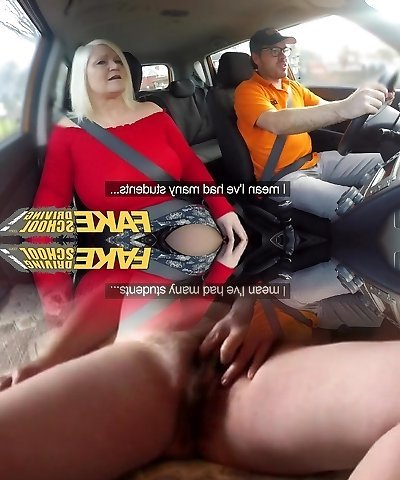 Faux Driving College Busty mature MILF fucks instructor