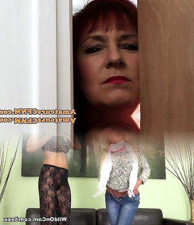 Mature CFNM female domination sucking cock and scrotum