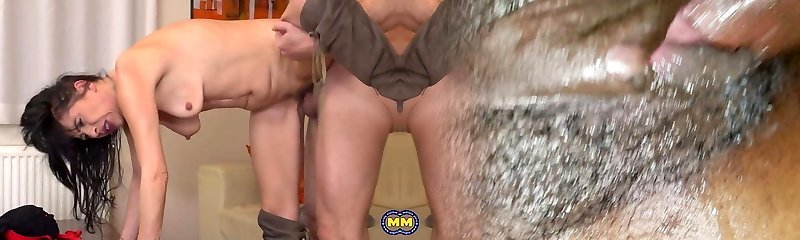 Mother with small saggy tits pleasing dad
