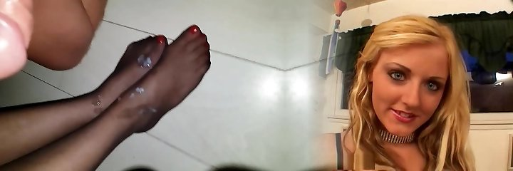 Cum on mature stockings legs