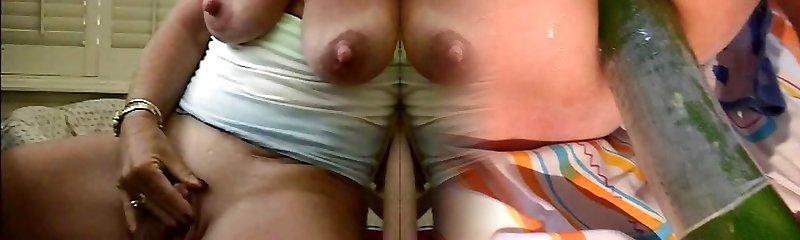 Slut grandma big nipples stroking her big nub