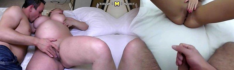 Prego mature woman gets a good stiff fuck