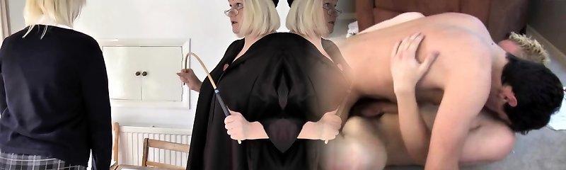 junior blonde studente wordt geslagen van haar oude mentor