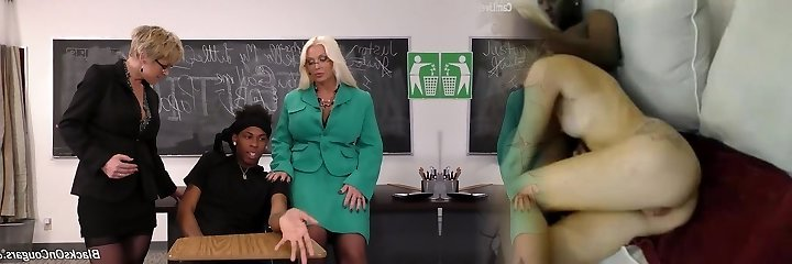 Black student drills 2 awesome mature teachers with big boobs
