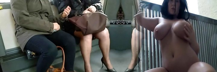 Mature with sexy high heels and pantyhose in the bus 3