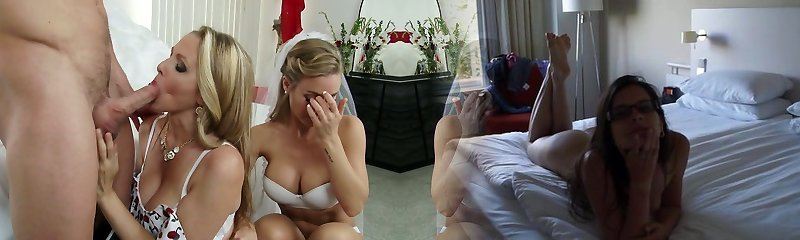 Nasty mummy Julia Ann and jaw-dropping bride Nicole Aniston penetrate Johnny Castle