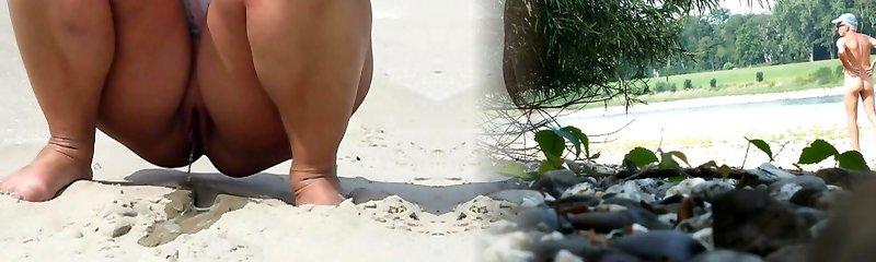 peeing on the beach