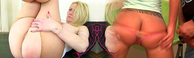 English milf Fiona caresses her pantyhosed poon