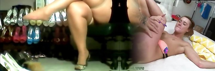 Thick mature in nylons teasing