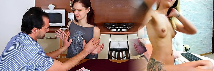 TrickyOldTeacher - Black-haired student gives mature educator cock sucking and fucks him