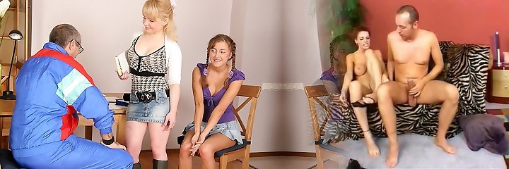 TrickyOldTeacher - Two hot coeds get naked and give mature professor threesome and deepthroating