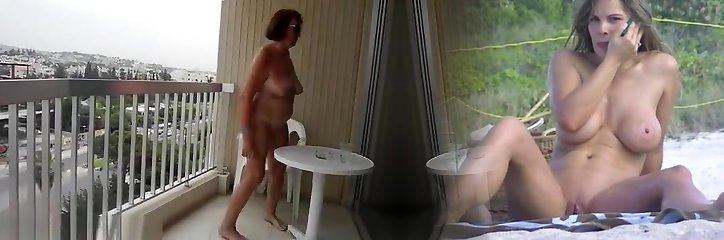 Exhibitionist mature displaying body in balcony