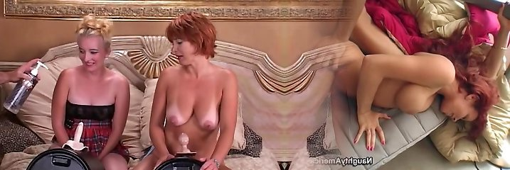 Two mature lesbians luvs riding sybians and having pussies crammed with playthings