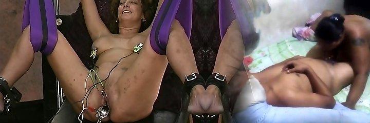 Sir pulls on mature slaves bull ring nipple piercings