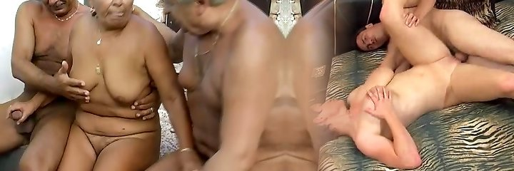 Time worn granny is getting finger screwed in filthy MMF threesome