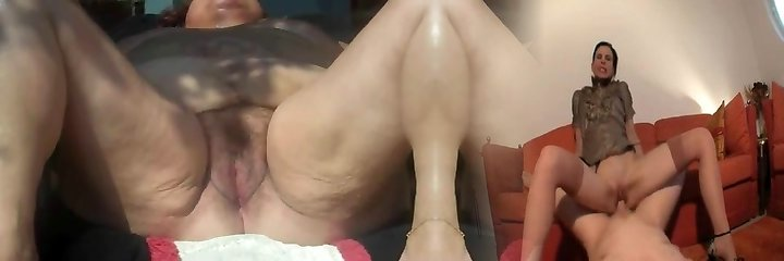 Grandmother with legs akimbo