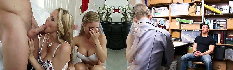 Super-naughty mummy Julia Ann and sexy bride Nicole Aniston screw Johnny Castle