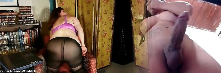 Black nylons and online pornography get mommy hot and horny