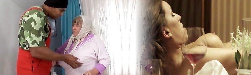 Big Dark-hued Cock Creampies Grandma with Huge Tits