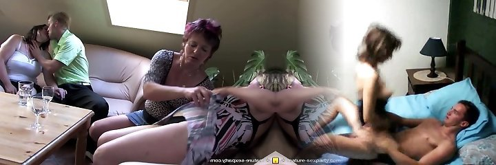 Private amateur fuck-fest party with mature moms