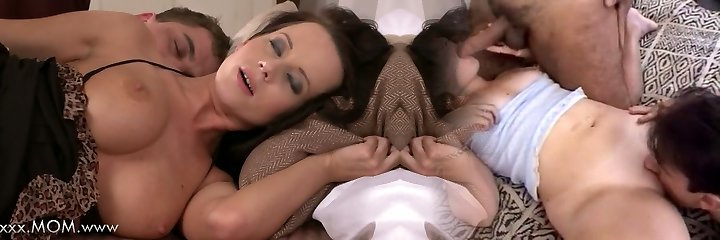 MOM Big-boobed Brown-haired MILF takes his length