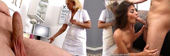 Mature Blonde Nurse measures patients dick soft and erect