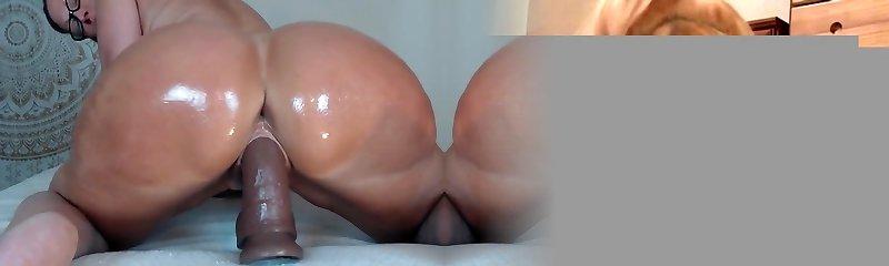 Big bums milf riding a dildo