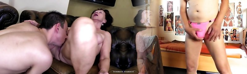 Old mom and granny takes young dude's hefty cock