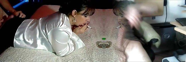 Hot Brunette MILF Smoking Pink Hole Sex
