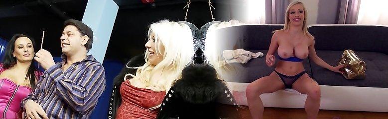 Nasty pornstars Valerie Fox, Antonia Deona and Eva May in amazing mature, blonde hard-core movie